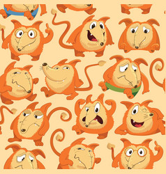Seamless pattern with funny fox expressing various vector