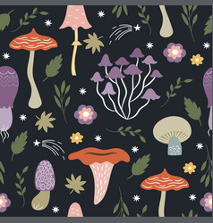 Seamless pattern with whimsical mushrooms vector