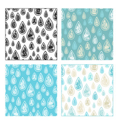 seamless patterns of decorative raindrops vector image