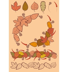 set of autumn leaves decoration vector image