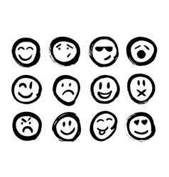 set of emoticons set of emoji isolated vector image