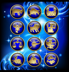 Set of glossy round zodiac icons with gold linear vector