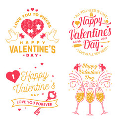 set of happy valentines day sign stamp card with vector image