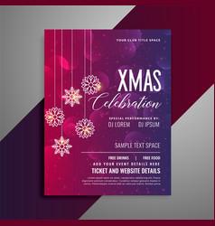 shiny christmas party celebration flyer template vector image