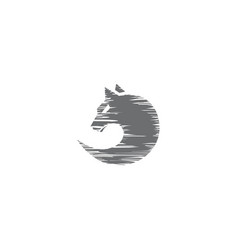 Sketch circle wolf face vector