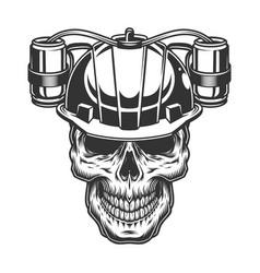 skull in beer helmet vector image