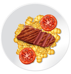 steak and pasta on the plate vector image