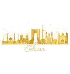 Tehran iran city skyline golden silhouette vector
