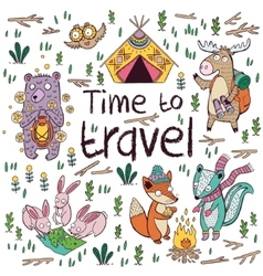 Time to travel Children card in cartoon style vector image
