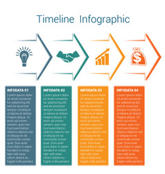 timeline infographic 4 color arrows vector image