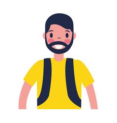 traveler man tourist on white background vector image