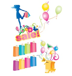 vector spring shopping and sales set vector image