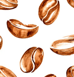 Watercolor coffee beans seamless pattern vector
