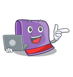 With laptop towel character cartoon style vector