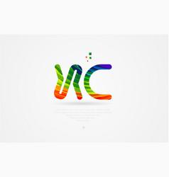 xc x c rainbow colored alphabet letter logo vector image