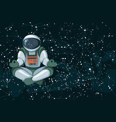 yoga black cosmic sky with vector image