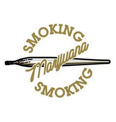 color vintage marijuana emblem vector image vector image