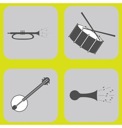 monochrome icon set with musical instruments vector image