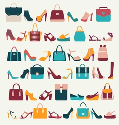 Set icons of Women bags and shoes - vector image vector image