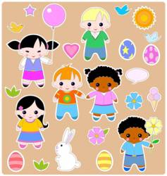 children spring set vector image