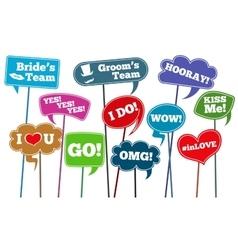 Funny weddings phrases brides team photo vector