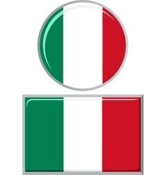Italian round and square icon flag vector image