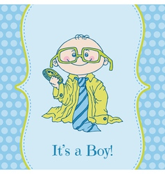 Baby Boy Shower and Arrival Card vector image vector image