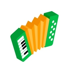 Green accordion with yellow bellows icon vector image