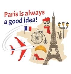 Paris decorative flat icons set vector