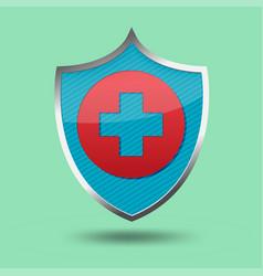 red cross shield symbol icon vector image vector image