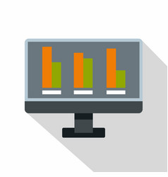 bar graph on the screen of computer icon vector image