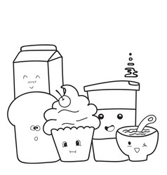 funny cute of hand drawn breakfast cartoon vector image vector image