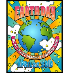 retro psychedelic earth day poster banner design vector image