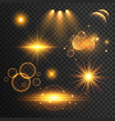 set of transparent lens flare and light effects vector image