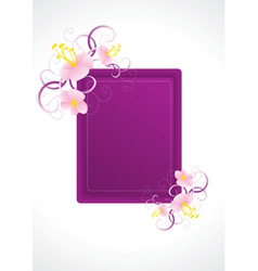 violet frame with pink flowers vector image
