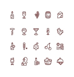Wine and sommelier line icons vector image vector image