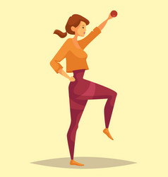 Woman doing weight exercise with barbell vector