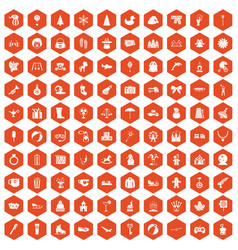 100 children icons hexagon orange vector