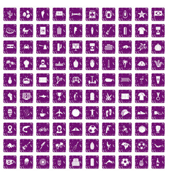 100 south america icons set grunge purple vector image