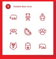 9 bear icons vector