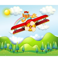 A red airplane driven by tiger vector