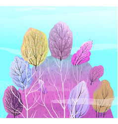 Abstract forest on hill colorful background vector