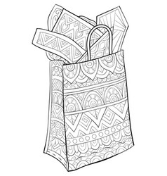 Adult coloring bookpage a cute christmas bag with vector