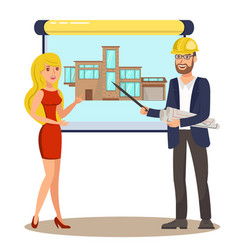 Architect man woman view exterior design vector