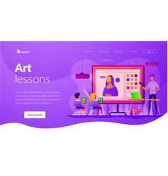 art lessons landing page template vector image