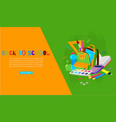 back to school with backpack colors crayons and vector image