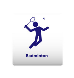 badminton sport symbol stickman solid icon vector image