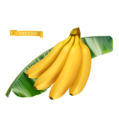 Banana on green leaf fresh fruit 3d realistic icon vector