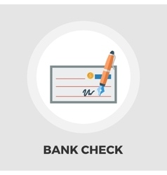 Bank check flat icon vector