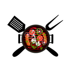 bbq logo on a white background vector image